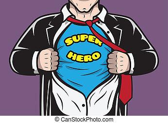 homem negócios, escondido, superhero, cômico, disfarçado