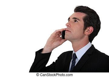 homem negócios, escutar, para, cliente