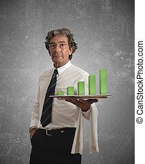 homem negócios, estatísticas, positivo