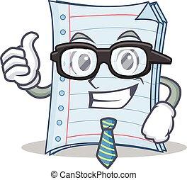 homem negócios, estilo, caderno, personagem, caricatura