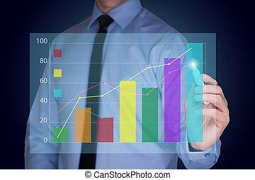 homem negócios, estratégia, desenho, gráfico, conceito negócio
