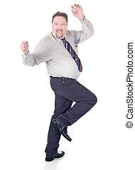 homem negócios, excitado, dançar
