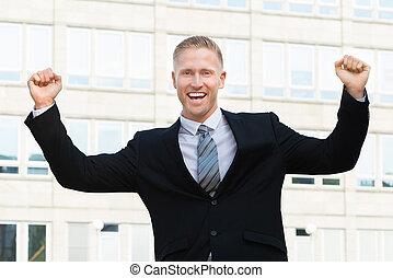 homem negócios, excitado