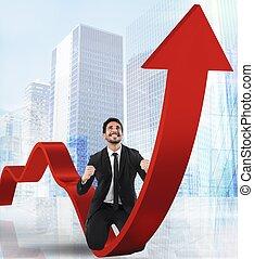 homem negócios, exults, para, econômico, sucesso