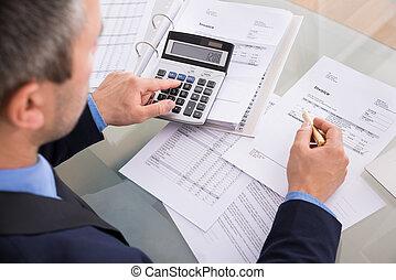 homem negócios, fazendo, calculando