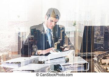 homem negócios, fazendo, contabilidade
