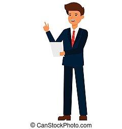 homem negócios, fazer, fala, caricatura, apartamento, vetorial, ilustração, conceito, ligado, isolado, fundo branco