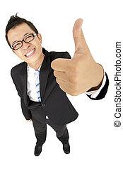 homem negócios, feliz, cima, polegar