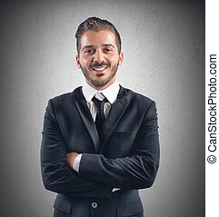 homem negócios, feliz
