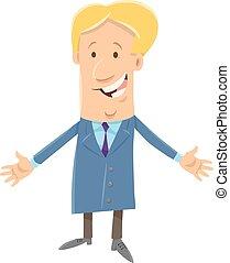 homem negócios, feliz, personagem, caricatura, saliência