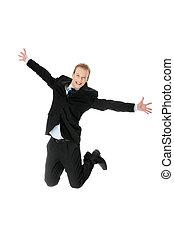 homem negócios, feliz, pular, caucasiano, jovem