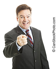 homem negócios, feliz, ver, tu