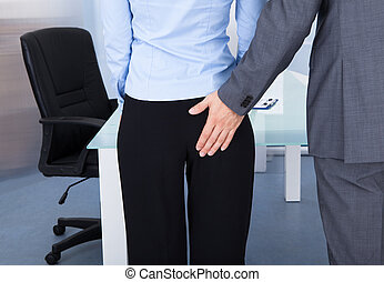 homem negócios, flertar, executiva