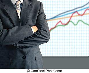 homem negócios, frente, gráfico