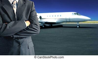 homem negócios, frente, jato confidencial