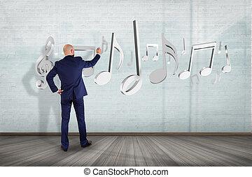 homem negócios, frente, um, parede, com, 3d, render, notas música
