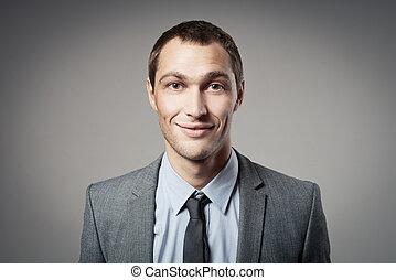 homem negócios, fresco, cinzento, fundo, Retrato