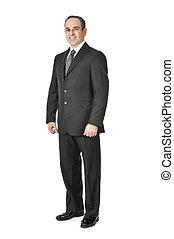 homem negócios, fundo branco