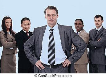 homem negócios, fundo, equipe negócio