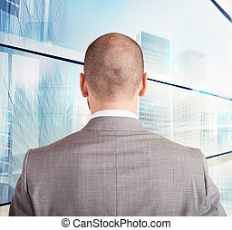 homem negócios, futuro, seu, direção