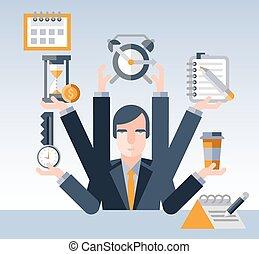 homem negócios, gerência, tempo