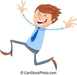 homem negócios, gerente, personagem, ou, feliz