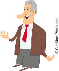 homem negócios, gerente, personagem, ou, saliência