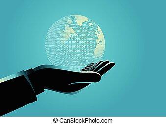 homem negócios, globo, digital, segurando mão