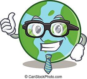 homem negócios, globo mundial, personagem, caricatura