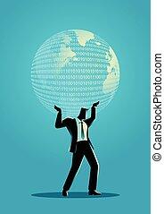 homem negócios, globo, segurando, digital