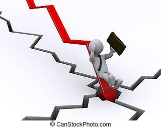 homem negócios, gráfico cadente