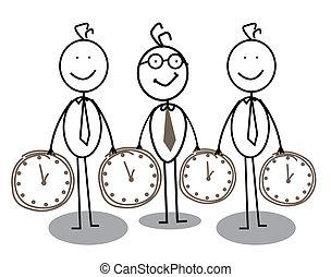 homem negócios, grupo, tempo