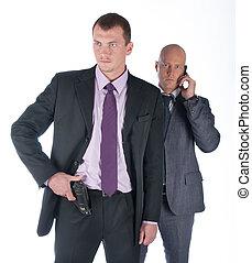 homem negócios, guarda-costas