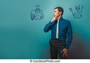 homem negócios, homem, pensando, olhando, anjo, diabo, demônio, infographics