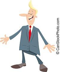 homem negócios, homem, personagem, caricatura, ou