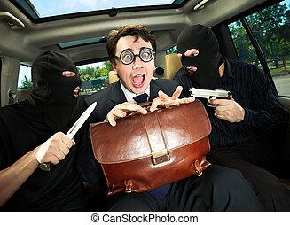 homem negócios, hostages., agarrado