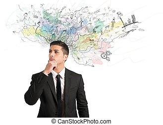 homem negócios, idéias, novo, pensa