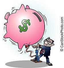 homem negócios, inflado, economia, dólar