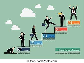 homem negócios, infographic, escadaria