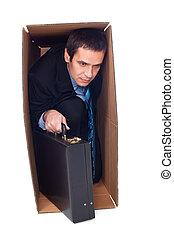homem negócios, interior, um, caixa papelão
