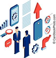 homem negócios, isometric, tecnologia