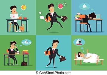 homem negócios, jogo, dia, trabalhando