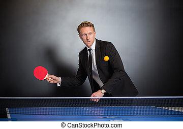 homem negócios, jogo, tênis