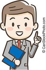 homem negócios, jovem, ilustração