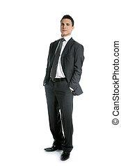 homem negócios, jovem, levante-se, duração cheia, branco