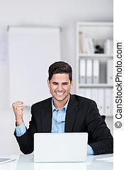 homem negócios, jubilante,  rejoicing