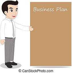 homem negócios, junta mensagem, em branco