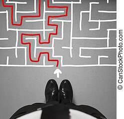 homem negócios, labirinto