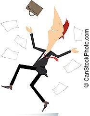 homem negócios, lançar, aproximadamente, papeis, coisa, excitado, ilustração, feliz