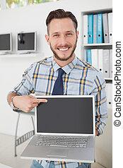 homem negócios,  laptop,  casual, apontar, Feliz